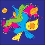 Vector abstract ontwerp met curvy vormen en het scrollen lijnen Sinaasappel, geel, groen, roze, magenta, turkoois, aqua, op blauw Royalty-vrije Stock Foto