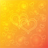 Vector abstract orange background with hearts Stock Photos