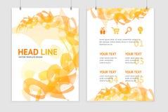 Vector abstract orange geometric brochure flyer Royalty Free Stock Image