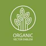 Vector abstract organic emblem, outline monogram, flower symbol, printing, stamp Royalty Free Stock Photo
