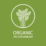 Vector abstract organic emblem, outline monogram, flower symbol, printing, stamp Royalty Free Stock Photos