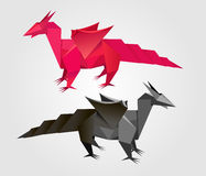 Vector abstract Origami dragon Royalty Free Stock Photo