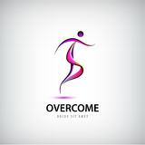 Vector abstract overcome logo. Man running, moving toward. Stock Images
