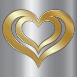 Vector abstract pair of golden hearts on silver Royalty Free Stock Images