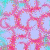 Vector abstract pastel pattern from azure soap bubbles and gears. In lilac decoration on a blue background for fabrics or home textile items. To design and royalty free illustration