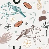 Vector abstract pastel summer time seamless pattern. Cute illustration with toucan, palm leaves, flowers, pineapple and papaya stock illustration