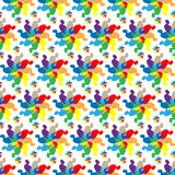 Vector abstract pattern of colored geometric shapes in the form of flowers with irregular petals on a white background.  Stock Image