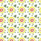Vector abstract pattern for design, yellow circles, green triangles. Abstract pattern for design, yellow circles, green triangles stock illustration