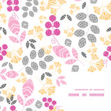 Vector abstract pink, yellow and gray leaves frame Royalty Free Stock Images