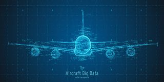 Vector abstract plane big data graph visualization. Aircraft infographics aesthetic design. Visual information. Complexity. Intricate engineering data scheme royalty free illustration