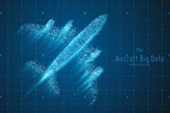 Vector abstract plane big data graph visualization. Aircraft infographics aesthetic design. Visual information. Complexity. Intricate engineering data scheme vector illustration