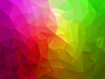 Vector abstract polygon background with a triangle pattern in pink green spectrum color stock illustration