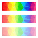 Vector abstract polygon banners with a triangle pattern with different opacity - full spectrum color rainbow strip Stock Photo