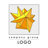 Vector abstract polygonal logo template. Art color flat geometric shape isolated on white background. Company group logo illustration stock illustration