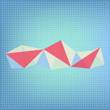Vector abstract polygonal red, blue and white transparent  shape. Vector geometric polygonal transparent red and blue shapes on blue background with white four Stock Images