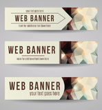 Vector abstract polygonal web banner set. Abstract styled polygonal web banner collection Royalty Free Stock Photography