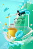 Vector abstract poster or banner cosmetics template in blue and green colors. Vector abstract background cosmetics template for banner or poster design in blue royalty free illustration