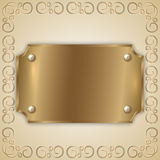 Vector abstract precious metal golden award plate Stock Image