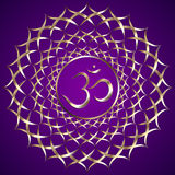 Vector abstract purple background with om mantra. Vector abstract purple background with  OM mantra circle ornament Royalty Free Stock Photo