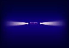 Vector abstract purple banner with spotlight, flashlight, light beam, ray of light vector illustration