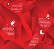 Vector abstract red background for four texts. Vector abstract red background with crystalline asymmetric shapes and place for four texts Royalty Free Stock Photo