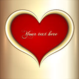 Vector abstract  red and golden heart Royalty Free Stock Image