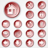 Vector abstract red round paper icon set Royalty Free Stock Photo