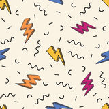 Vector abstract retro pattern with lightning bolts and geometric elements. Stock Photo