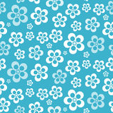 Vector Abstract Retro Seamless Blue Flower Pattern. Background Stock Images