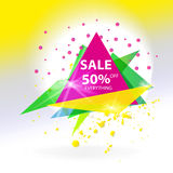 Vector abstract sale triangle banner. Stock Photography