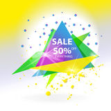 Vector abstract sale triangle banner. Stock Image