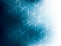 Hexagon abstract science technology blue background. Stock Photos