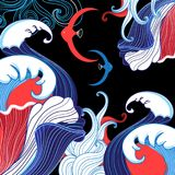 Vector abstract sea background with waves. Vector abstract sea background with waves and fishes on dark Royalty Free Stock Image