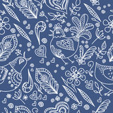 Vector abstract seamless background with flowers,. Birds and hearts. Hand drawn seamless pattern. Decorative backdrop. Floral ornament can be used for wedding Stock Photography