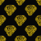 Vector abstract seamless background of heads of elephants. Gold on black Stock Illustration