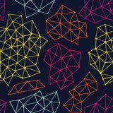 Vector abstract seamless background from triangles and dots. Endless navy blue background. Stock Photography