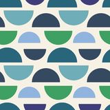 Vector abstract seamless geometric pattern with half circles in greens and blue stock illustration