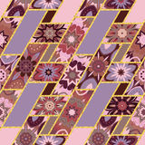Vector abstract seamless patchwork pattern with geometric and floral ornaments, stylized flowers, dots  lace. Vintage Stock Image