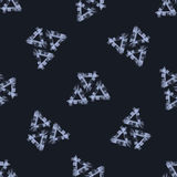 Vector abstract seamless pattern. Blue triangles. Texture. Modern Black background. Repeating geometric. Vector Stock Image