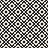 Vector abstract seamless pattern with diamond shapes, stars, rhombuses, lattice, floral tiles. Vector abstract grid seamless pattern. Black and white graphic Stock Photo