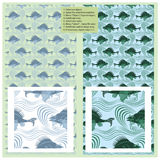 Vector abstract seamless pattern - fish of sea Stock Images