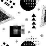 Vector abstract seamless pattern with geometric shapes. Retro memphis style. Stock Photo