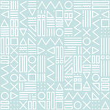 Vector abstract seamless pattern with geometric shapes on the striped background. Memphis style. Stock Images