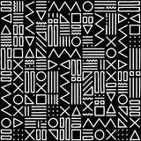 Vector abstract seamless pattern with geometric shapes on the striped background. Memphis style. Royalty Free Stock Photography