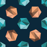 Vector abstract seamless pattern with green and orange polyhedro. Ns on dark blue background Royalty Free Stock Photography