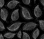 Vector abstract seamless pattern with lacy leaves. Autumnal seasonal endless texture Royalty Free Stock Photos