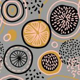 Vector abstract seamless pattern with lemons, circles, dots. stock illustration