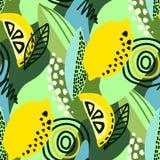 Vector abstract seamless pattern with lemons, circles, dots. stock photo