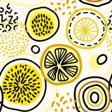 Vector abstract seamless pattern with lemons, circles, dots. royalty free illustration