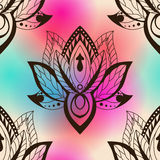 Vector abstract seamless pattern with lotus flowers. Abstract ve. Ctor background with flowers. Lotus mandala. Vector Indian hand drawn lotus Stock Photography